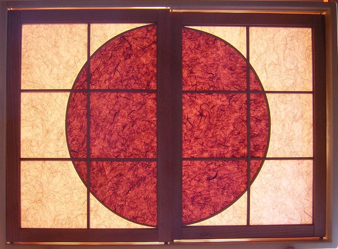 """Sol"" Shoji with Burgundy Circle in Center of two  Shakti Shoji Window Panels"